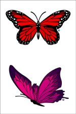 Elegant Red Butterfly swimming tattoos