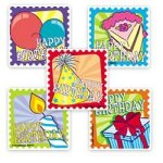 Happy Birthday large stickers - 15 stickers