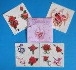 Hearts and Flowers Tattoos - 1 Gift Pack of 11 tattoos