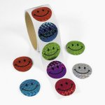 Laser Smiley Face Stickers - 50 stickers