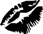 Lips kissing stencil