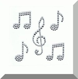 Musical Notes self adhesive body jewel