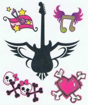 Girly Punk music tattoo sheet