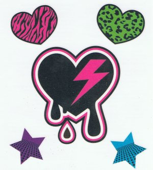Girly Punk heart tattoo sheet