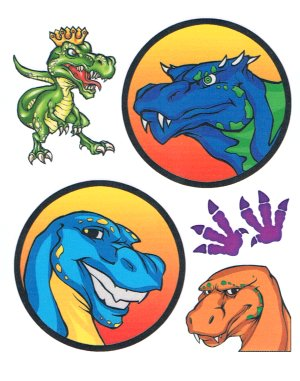 Cartoon dinosaur tattoo sheet