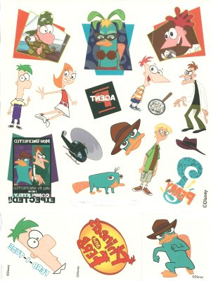 Disney Phineas and Ferb tattoos: 50 tattoo Gift Pack