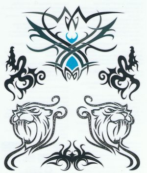 Tribal Lion design temporary tattoo sheet