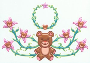 Girls lower back & belly button ring: Teddy Bear