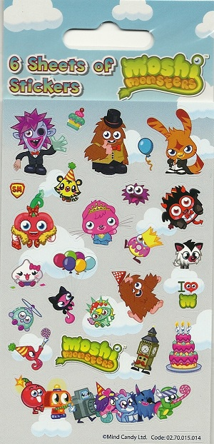 Moshi Monster stickers: 6 sheet Party Pack