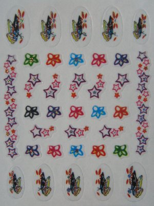 Glitter Nail Art Stickers -  Flowers, butterflies and Stars