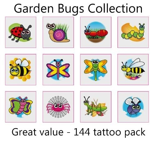 A Garden Bugs Tattoos Collection mega pack of 144
