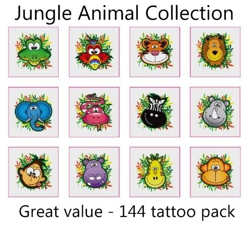 A Jungle Animal Tattoos Collection mega pack of 144