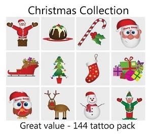 A Christmas Tattoos Collection mega pack of 144