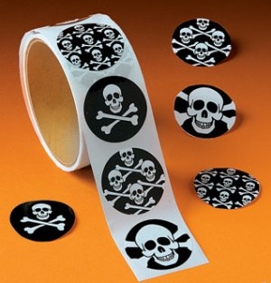 Skull and Crossbone Pirate kids stickers: 50 stickers