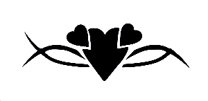 Hearts Tribal stencil