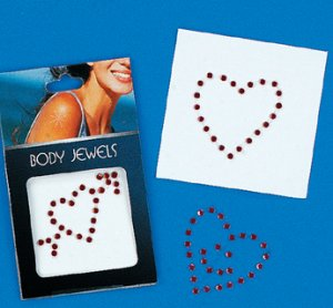 Heart shaped body jewels - pack of 3