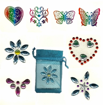 Gift Bag of 4 Body Jewels and 4 Tattoos: Blue Bag