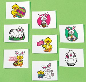 Easter Animal Tattoos: 12 Pack