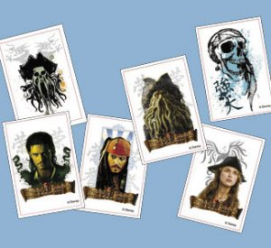 Pirates of the Caribbean temporary tattoos:  6 pack
