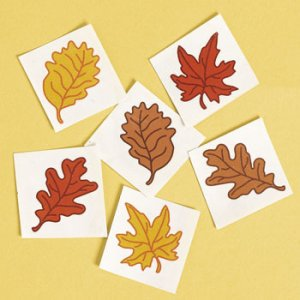 Autumn Leaf Tattoos: pack of 12