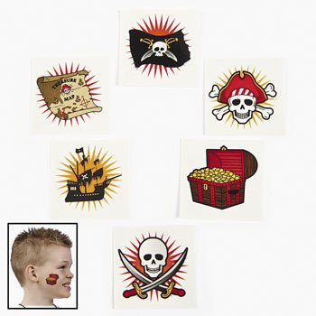 Pirate Adventure Tattoos:  12 Pack