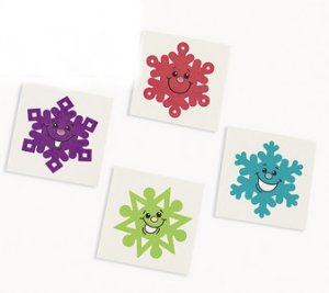 Colourful Snowflake Tattoos: 12 Pack