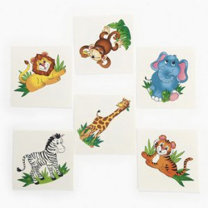Zoo Animal Tattoos :12 Pack