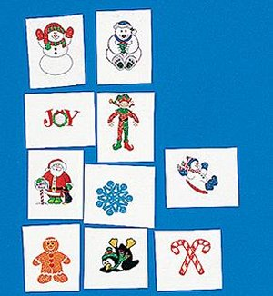 Glitter Christmas temporary tattoos:  8 pack