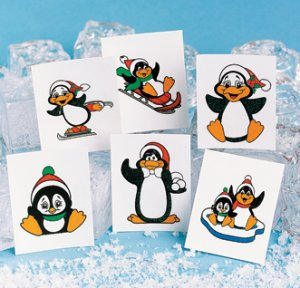 Glitter Penguin children's removable tattoos: 12 pack