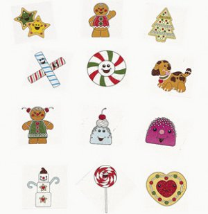 Glittery Christmas Gingerbread Tattoos: 12 pack