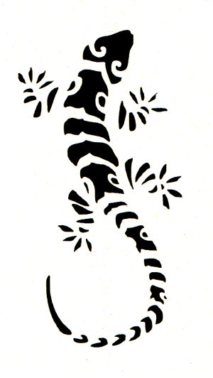 Tribal lizard stencil