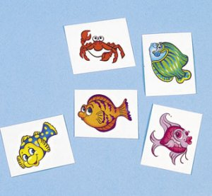 Funky Fish and Sealife tattoos: 12 pack