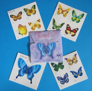 Butterfly Tattoos: 1 Gift Pack of 13 Tattoos