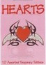 Hearts gift pack - 10 assorted tattoos