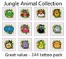 A Jungle Animal Tattoos Collection - mega pack of 144